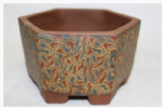 Bonsai Pot, Hexagonal, 12cm, Brown, Unglazed, Motif